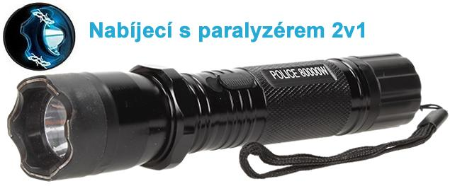 Výkonná nabíjecí baterka s paralyzérem 2v1