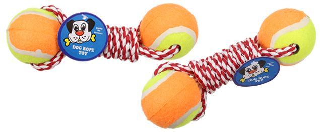 Hračka pro psa 2 tenisáky s provazem