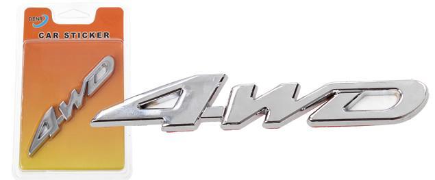 Kovová samolepka 4WD stříbrná