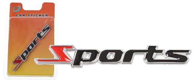 Kovová samolepka Sports černá 11cm x 1,5cm