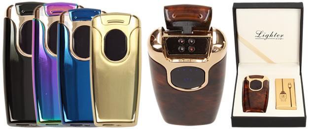 Dotykový plazmový zapalovač s displejem a USB nabíječkou