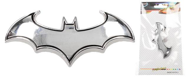 Kovová samolepka Batman 8 x 3 cm stříbrná
