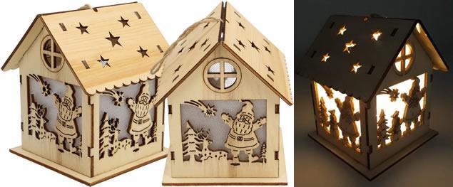 Svíticí Vánoční chaloupka dřevěná velká