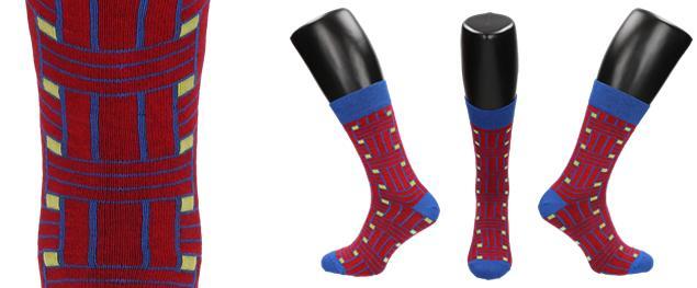 Ponožky modro - červené kostičy