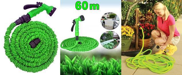 Smršťovací zahradní hadice - 60 metrů + rozprašovací pistole a rychlospojky