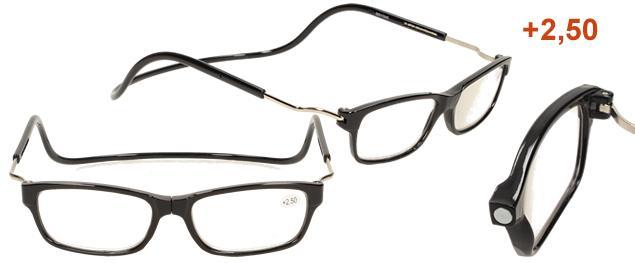Dioptrické brýle s magnetem černé +2,50