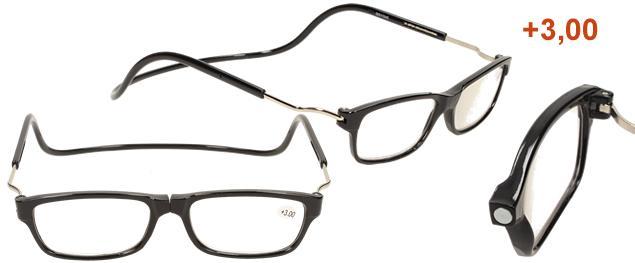 Dioptrické brýle s magnetem černé +3,00