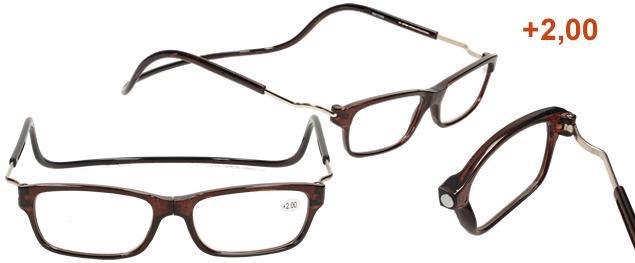 Dioptrické brýle s magnetem hnědé +2,00