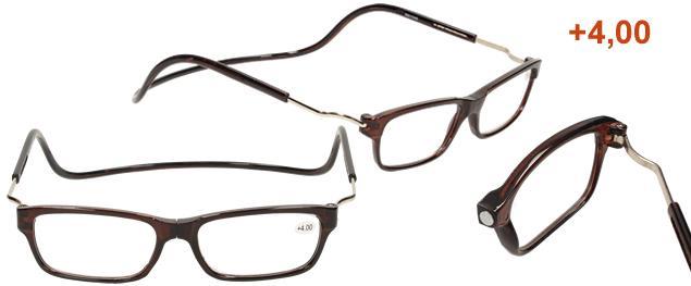 Dioptrické brýle s magnetem hnědé +4,00