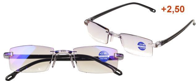 Dioptrické brýle s antireflexní vrstvou černé +2,50