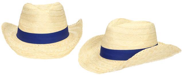 Slaměný kovbojský klobouk s modrým páskem