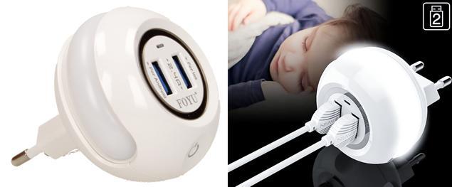 2 v 1 USB nabíječka s LED světlem FOYU