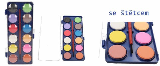 Vodové barvy 12 barev se štětcem malé