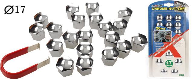 Sada ozdobných krytů pro šrouby kol stříbrné 17 mm 20 ks