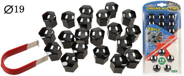 Sada ozdobných krytů pro šrouby kol černé 19 mm 20 ks