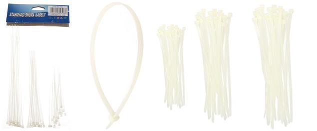 Stahovací pásky bílé 60 ks 3x 100, 150, 200 mm