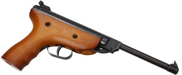 Vzduchová pistole jednoruční dřevěná (ráže 5,5mm)