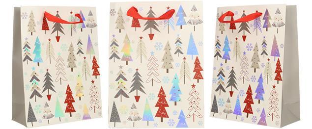 Dárková vánoční taška bílá se stromy 24x18 cm