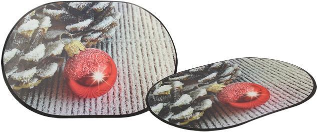 Prostírání na stůl oválné 40x28 cm Červená ozdoba a šišky