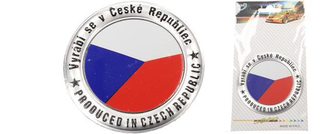 Kovová kulatá samolepka Vlajka ČR 7,5 cm
