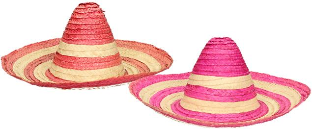 Slaměné sombrero růžové