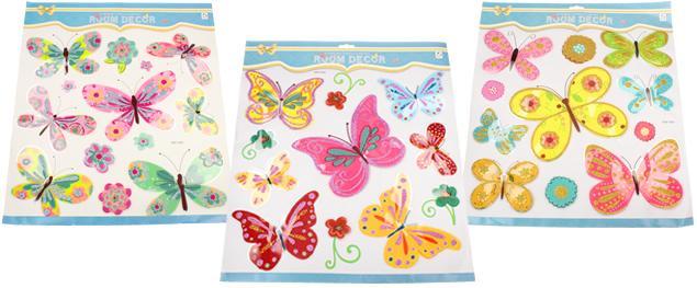 3D samolepky na zeď mix barevných motýlů
