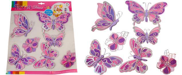 3D samolepky na zeď růžoví motýli