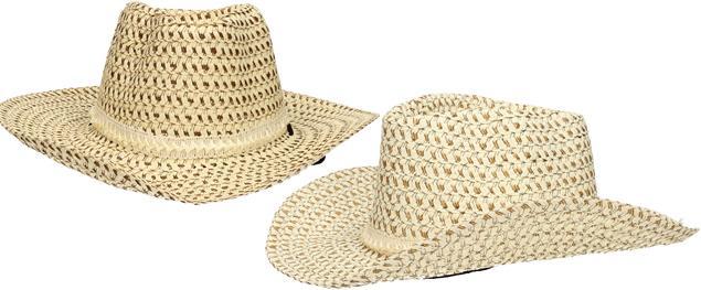 Slaměný kovbojský klobouk béžový s pleteným páskem