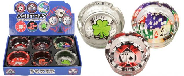Skleněný kulatý popelník Poker