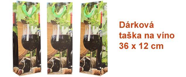 Dárková taška na víno sklenička s červeným vínem 36x12 cm