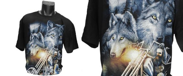 Fosforeskující tričko s vlky a motorkářem na Chopperu ROCK MANG