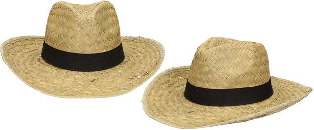 Slaměný kovbojský klobouk s černým páskem velký