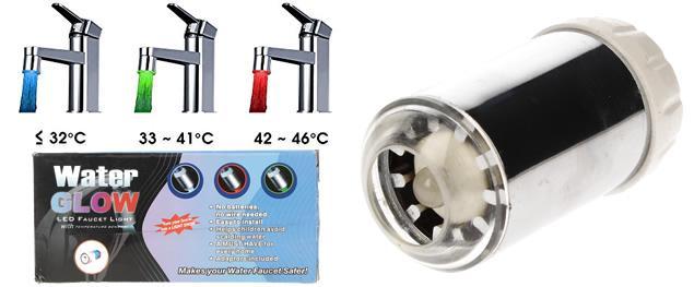 LED svítíci perlátor na vodovodní baterii